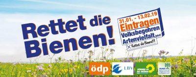 Logo zum Volksbegehren Artenvielfalt vom Aktionsbündnis ödp, LBV, Grüne Bayern und Bund Naturschutz